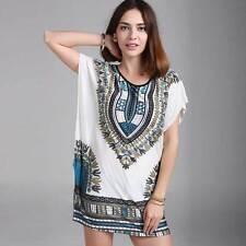 Women Tunic Kaftan T-shirt Blouse Top Mini Dress Skirt Tee Oversize 8-18 African