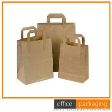 """Medium Kraft Brown SOS Food Carrier Paper Bags Takeaway With Handles 8""""x4""""x10"""""""