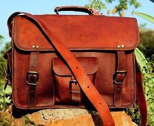 Men's Genuine Natural Leather Vintage Laptop Messenger Briefcase Bag Satchel