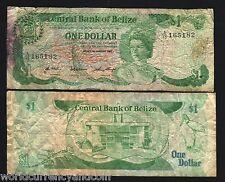 BELIZE $1 P46 1987 BIRD LIZARD QUEEN CARIBBEAN SCARCE BANK NOTE