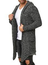 Redbridge Herren Strickjacke Übergangsjacke Cardigan Asymmetric Long Cut Kapuze