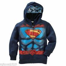 Superman Hoodie Jacket Size 5 6 7 8 10-12 14-16 New Sweatshirt Childs DC Comics