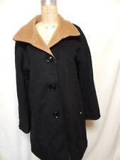 Ellen Tracy Wool-blend Colorblock Walker Coat  Black/Camel  New with Tags
