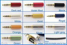 "100x Gold 3.5mm 1/8"" 4 Pole Male Repair Headphone Metal Audio Connectors 10color"