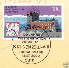 BRD 2000: Wetterstation Zugspitze Nr. 2127 mit Bonner Ersttagsstempel! 1A! 1610