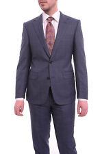 Napoli Slim Fit Navy Blue Windowpane Plaid Half Canvassed Super 160's Wool Suit