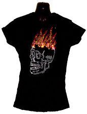 Señora Cristal Calavera Gótica Pirata Motero Diseño Ajustada Camiseta Camisa (
