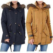 a2b4594d191 New Ladies Soft Faux Fur Hood Contrast Pu Trim Fishtail Parka Jacket Coat  8-24