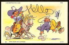 1933 Cowboy on Horse Ropes Dude w Lasso Hello Linen Curteich Comic Art Postcard