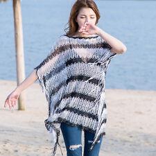 Lady Poncho Shrug Wrap Shawl Jumper Crochet Bikini Cover Beach Top Tassel Stripe