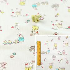 White Fat Quarter/Meter   Cotton Fabric FQ   Children Kid Bunny Rabbit Sew 160cm