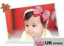 NUOVO Donna Baby il HEADDRESS Rosso / Fiocco Fiore Cerchietto UK Venditore