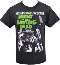 MENS BLACK T-SHIRT NIGHT OF THE LIVING DEAD ZOMBIE B-MOVIE HORROR ROMERO S-5XL