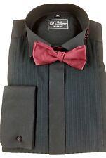 "Black 100%  Cotton Swiss Pleat Wing Collar  Dress Shirt 14.5 ""-23""  BNWT"