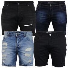 mens ripped denim skinny shorts Brave Soul Biker ruched Pants cotton summer