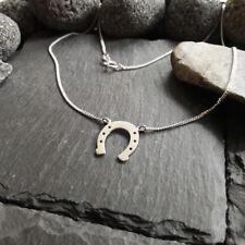 Halskette mit Hufeisen Anhänger in 925er Silber, Glück, Pferde Hufeisen, NEU