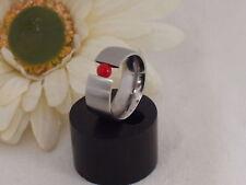 Edelstahl Ring Spannring Koralle rot Edelstein Bandring Damen breiter Neuer 9mm