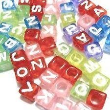 50 un. 6mm Colores Mezclados letra del alfabeto individual Cubo Perlas Diferentes Alfabeto