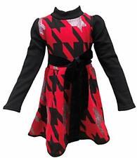 Girls Professional Red Houndstooth Designer Mock Turtleneck Winter Dress