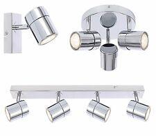1 3 or 4 Way Chrome Ceiling Light Round or Straight Bar GU10 Ceiling Spotlight