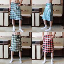 Mens Cotton Pajamas Sleep Bottoms Plaid Short Pants Side Split Bathrobe Culottes