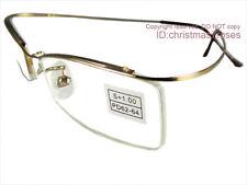 Men half-Rimless Reading glasses flexible 1 to 3 super light anti-glare New-GOLD