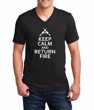 Men's V-neck Keep Calm And Return Fire T Shirt Guns 2nd Amendment US Military