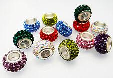 European Bead Kristall Glas Element Strass Anhänger Armband Kette Crystal, neu