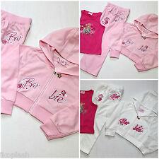 Girls Barbie Pink White 3 Piece Tracksuit Hoodie Vest Top Bottom Set 2-7 Years