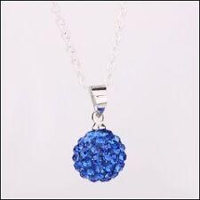 *Collier pendentif boule Shamballa DISCO cristal Swarovski bleu clair + chaine
