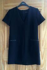 Topshop New Black Crepe V Neck Zip Shift Work Business Dress Size 6 8