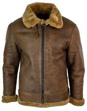 Veste pilote Air Force véritable peau de mouton rétro marron clair homme