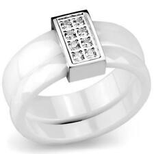 3W979 10MM STAINLESS STEEL RING WHITE CERAMIC CZ BAND ETERNITY WEDDING SET RING