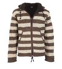 Warme Strickjacke aus Wolle Jacke mit Fleecefutter und abnehmbarer Kapuze