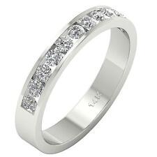 VS1 F 0.75Ct Genuine Diamond Engagement Ring Band 14K White Gold Channel Setting