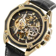 Luxury FORSINING Mens Skeleton Auto Mechanical Genuine Leather Band Wrist Watch