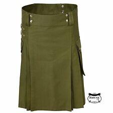 Oliver verde para hombres de moda sport utility Kilt Falda Escocesa De Lujo Ajustable