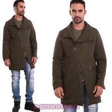 Parka uomo imbottito giaccone giubbotto zip sbieco giacca militar nuovo BX4310