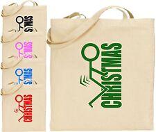 F*ck Christmas Large Cotton Tote Shopping Xmas Bag Secret Stick Man Funny Gift