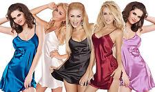 Dkaren Satin Chemise Lingerie Nightdress Sleepwear Babydoll S - XXXXL  New