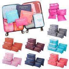 6PCS Luggage Organiser Suitcase Storage Bags Packing Travel Cubes Waterproof UK