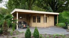 Gartenhaus Modell 4356 Z, 290x704cm, Fünfeck, 40mm stark, mit Vordach und Anbau