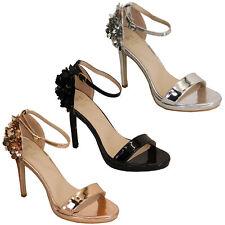 Señoras para mujer Sandalias Flor Tira Al Tobillo Tacón Stiletto Zapatos Puntera Abierta Boda