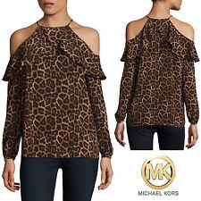 MICHAEL KORS Cold-Shoulder Halter Top Off Shoulder Blouse Ruffled Designer Shirt