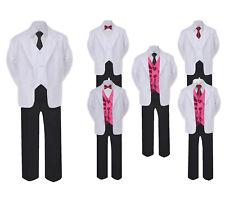 5-7pc  00004000 Formal Black White Suit Set Burgundy Bow Tie Neck Vest Boy Baby Sm-20 Teen