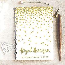 Planificador de boda Personalizado cayendo Corazones, Novia a Ser Journal, notas y diario