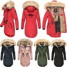 Navahoo Premium Damen Mantel Parka Winter Jacke Kunst-Fell Kapuze Lang Bombii