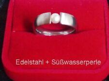 Edelstahl Ring Spannring Süßwasserperlen weiß Damen 6mm Bandring Edelstein Neuer