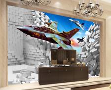 3D Red Aircraft Hole Cartoon 34 Wall Paper Wall Print Decal Wall AJ WALLPAPER CA