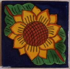 "C045- Mexican Handmade Talavera Clay Tile Folk Art 4x4""  Handpainted"